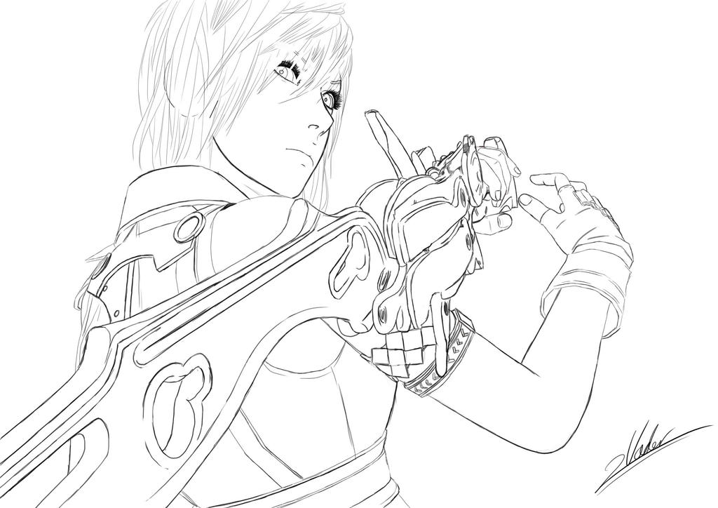 FF XIII Lightning Outlines by twovader