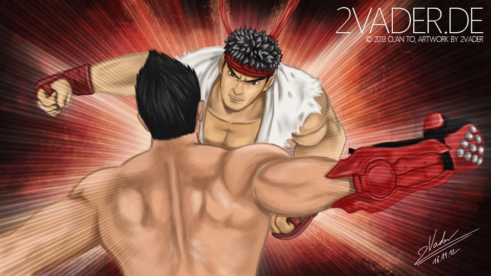 Streetfighter X Tekken - Ryu VS Jin (Fanart) by twovader