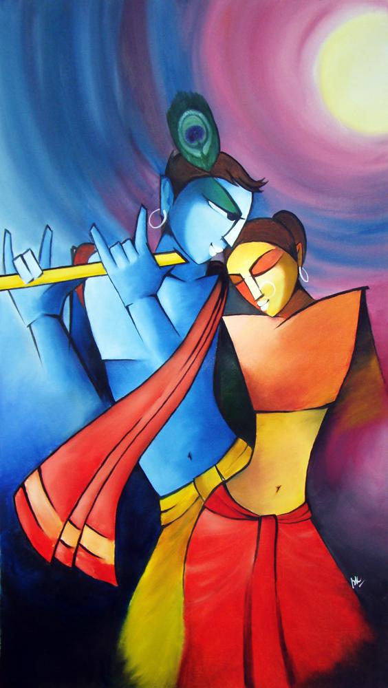 Radha Krishna - Hindu ... Simple Paintings Of Lord Krishna