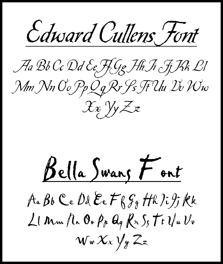 fonts used in twilight by esmecullen on deviantart