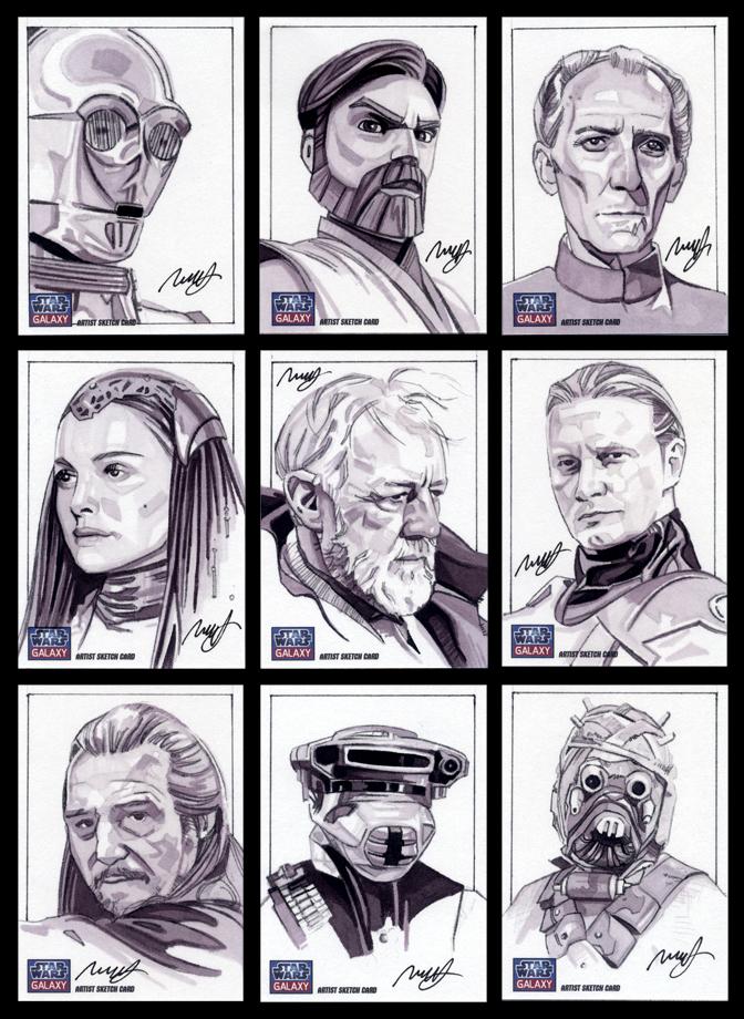 Star Wars Galaxy 7 sketch cards by roberthendrickson