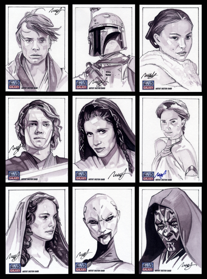 Star Wars Galaxy 7 sketch cards by roberthendrickson