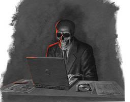 Skeleton at laptop
