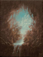 cave and castle by Acrylicdreams