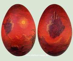 Surreal landscape on a goose egg by Acrylicdreams