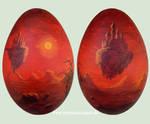 Surreal landscape on a goose egg