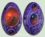 Ornamental surreal painting on goose egg