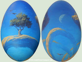 Roger Dean tribute on a goose egg by Acrylicdreams