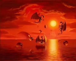 Three and a half dragons by Acrylicdreams