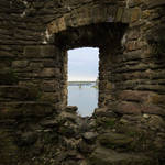 Window in medieval tower ruins