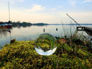 Glass sphere on moss at a lake