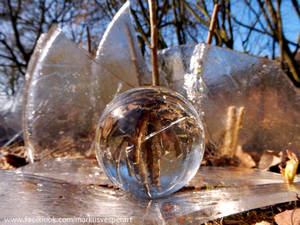 Crystal ball and ice sculpture
