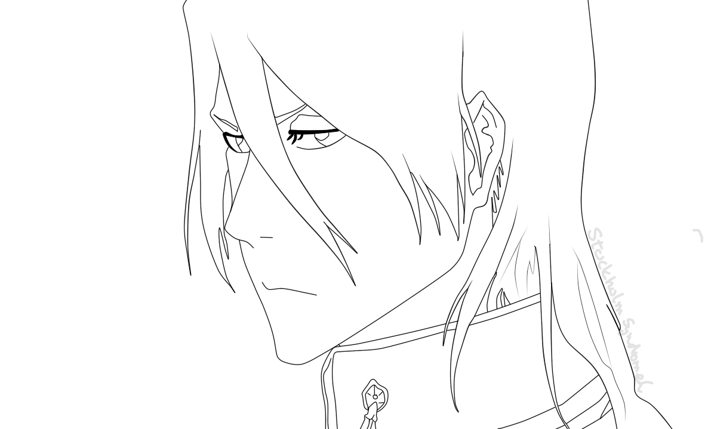 Byakuya Lineart by devilMisao