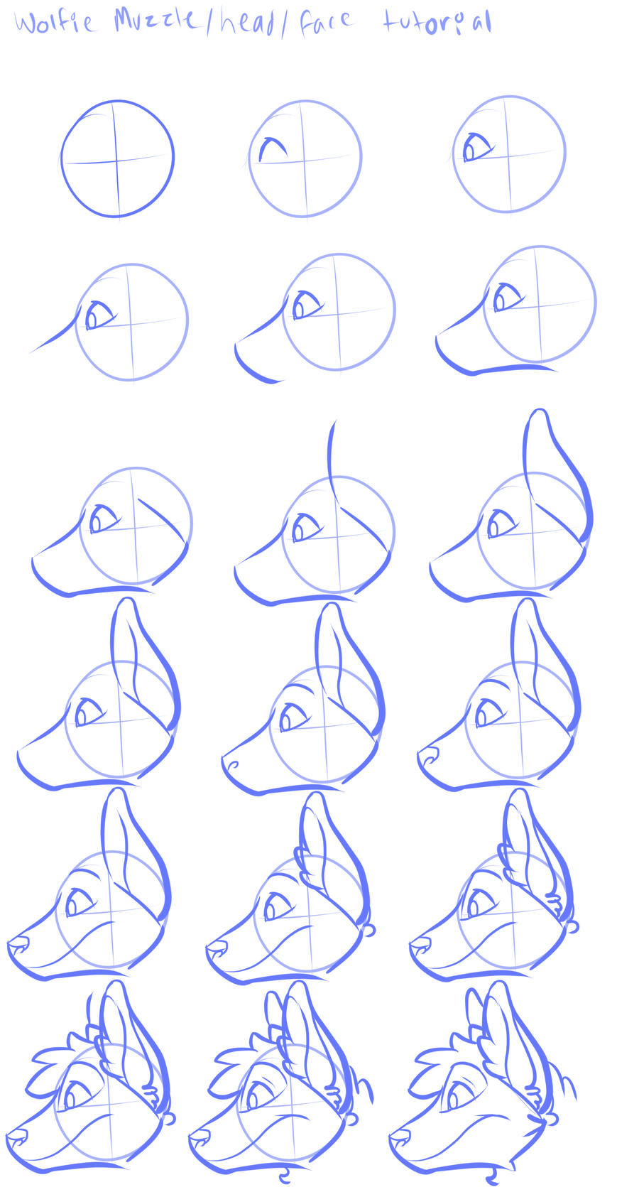 Wolfie head tutorial profile view by BloodLadenWolf