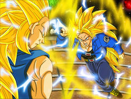ssj3 Bejita VS ssj3 F.Trunks by bejita135