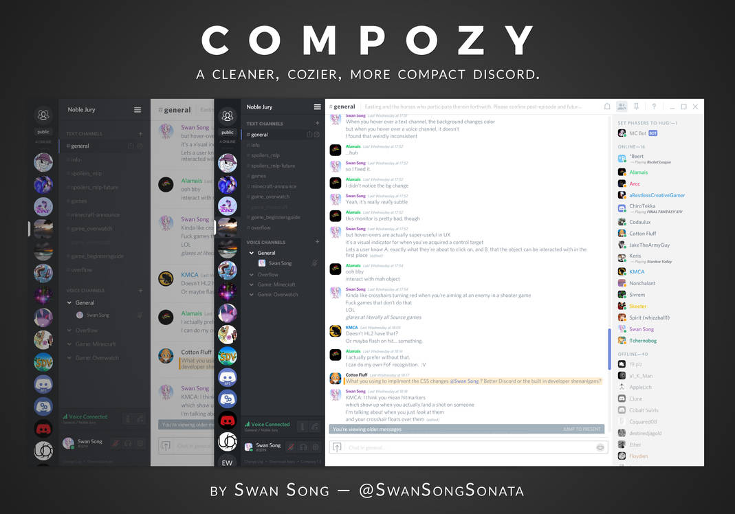 Compozy - A cleaner, cozier, more compact Discord by SwanSongSonata