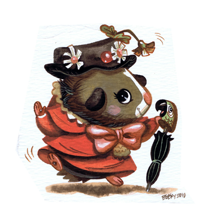 Guinea pig Mary Poppins by Pocketowl