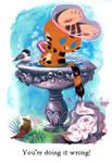 Tigerbuttah and the Bird Bath