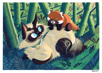 Cat and Red Panda by Pocketowl