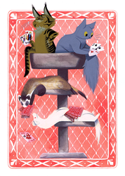 Cats and Ferrets Playing Cards