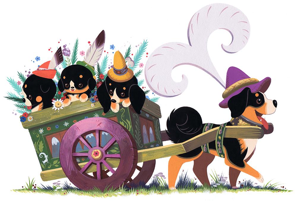 Dog Cart Pwint by Pocketowl