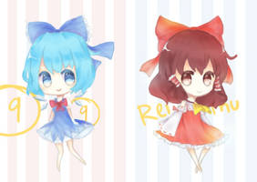 Touhou mini Cirno and Reimu by MatchaPan