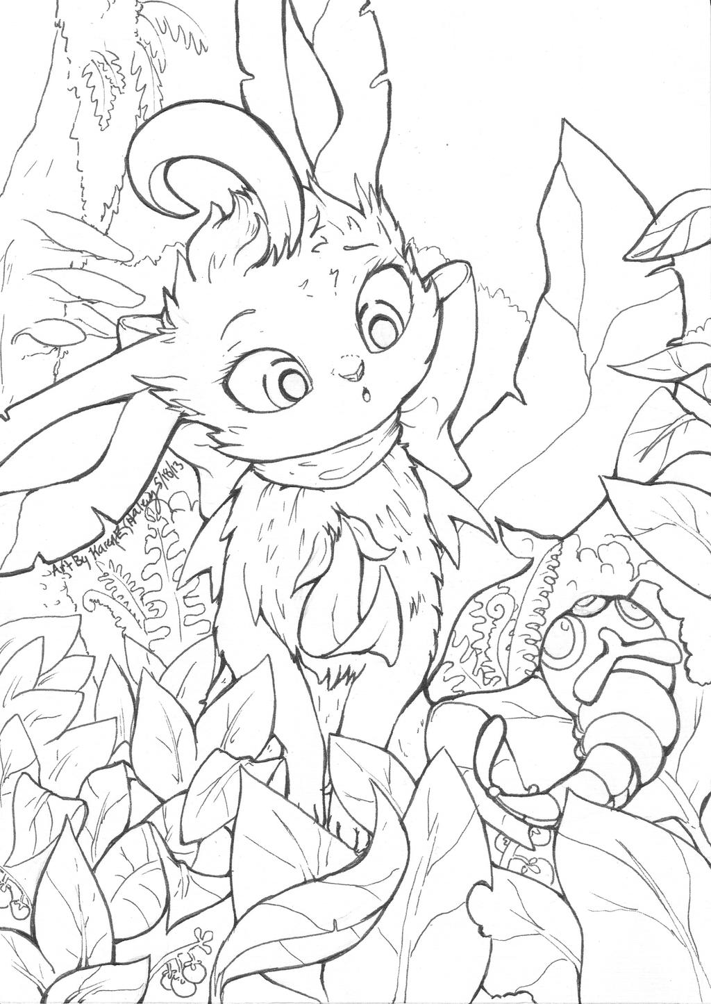 Leafeon Line art: CrazyComicLady Commission by karookachoo ...
