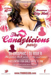 The Candylicious Party flyer template PSD