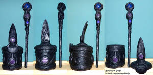 Raven feather jewelry box and magic wand Wicca