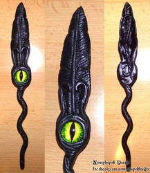 Raven feather dreads hair stick with eye