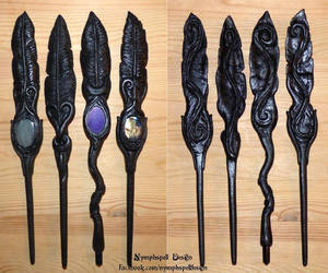 Raven feather hair sticks and wands with gemstones