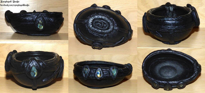Ship bowl with labradorite stones pagan witch