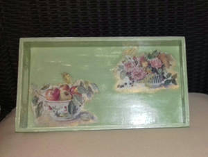 Tray, with decoupage