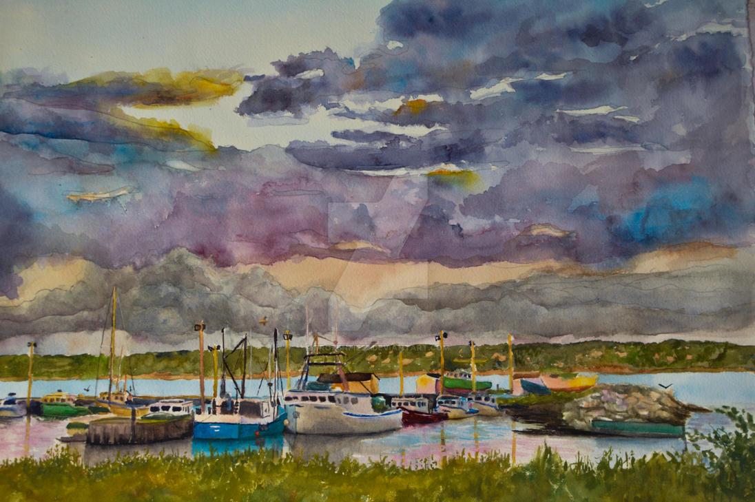 Landscape by the Docks by FrozenPie22