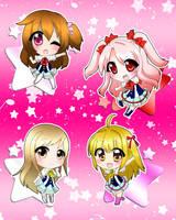 Star Idol Academy - New Shining Star chibis by ZenNiibi2