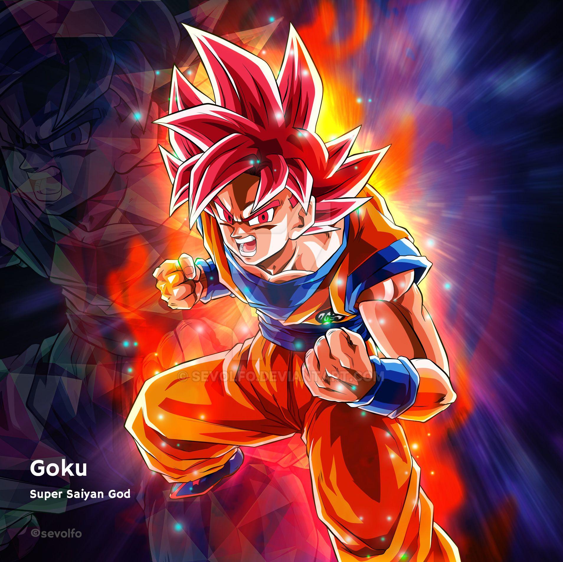 Goku Super Saiyan God by Sevolfo
