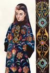 Ornamental watercolor girl
