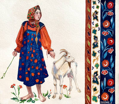 Ornamental girl with a goat