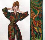 Great woman in a silk kimono