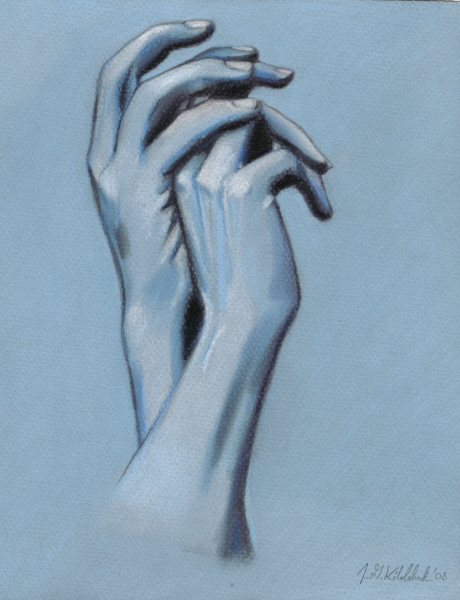 Hand Study in Blue by HoneyBean