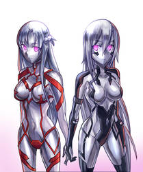 Golem Asuna and Kirito by Ibenz009 by NeoOmnimon