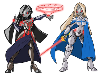 Robotified Shanoa and Katalina by ChaosCroc by NeoOmnimon