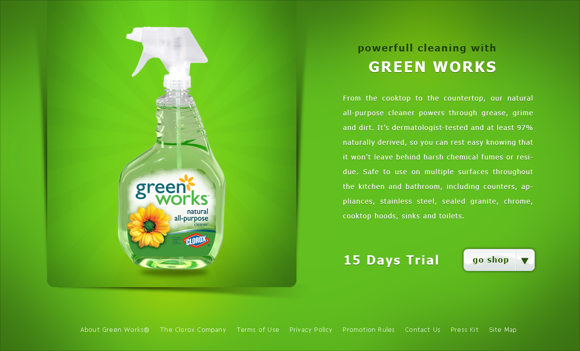 how green advertisement works essay Launched in january of 2008, clorox's line of natural cleaning products, green works, currently holds more than a 40% share of the natural home cleaning market  is it green: clorox green.