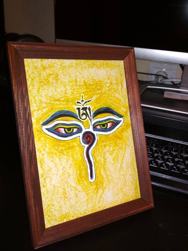 buddha eyes oil pastel by ReSampled