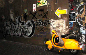 yellow vespa by tiger-lilie