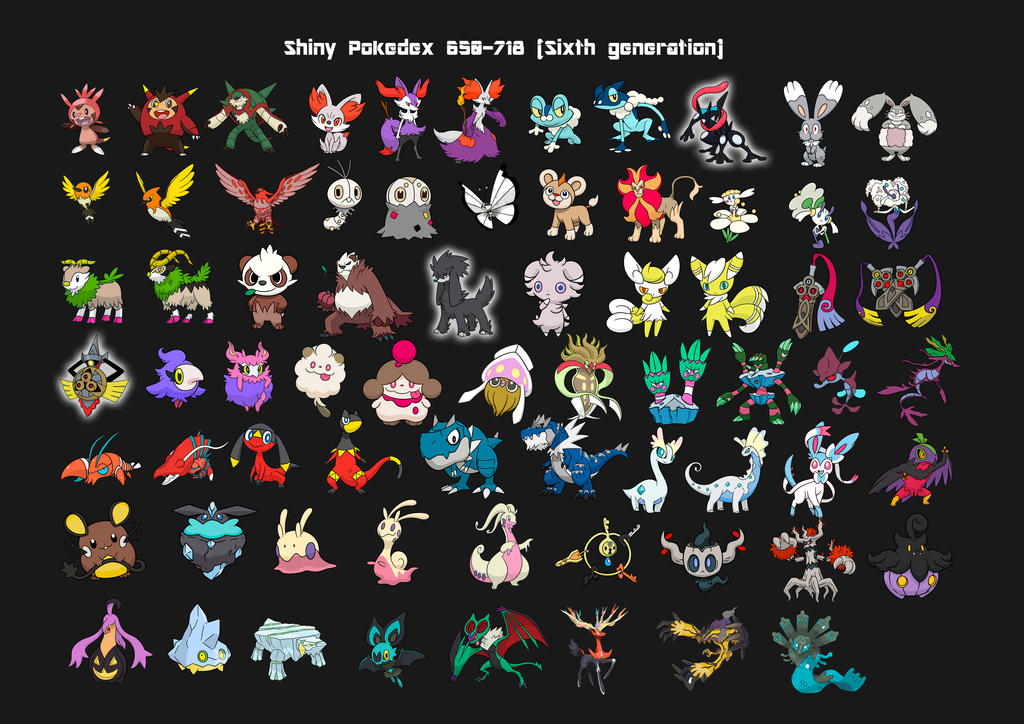 Sixth generation shiny pokedex X Y by Lendsei on DeviantArt