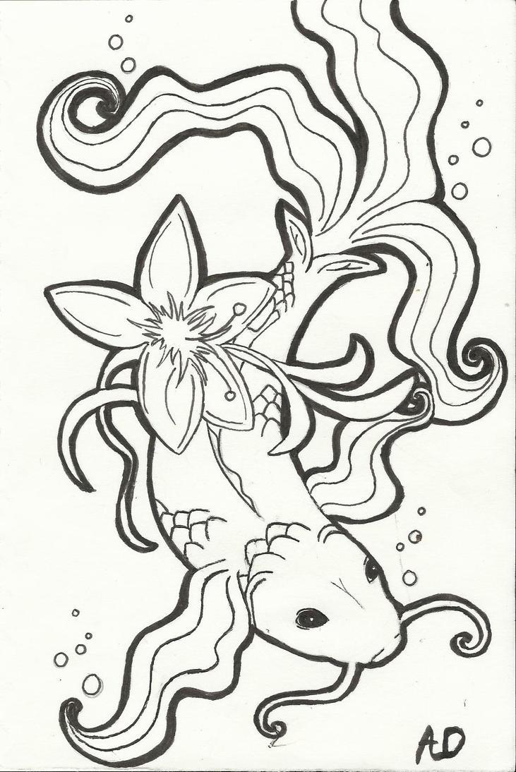 Line Art Of Fish : Image gallery koi fish line art