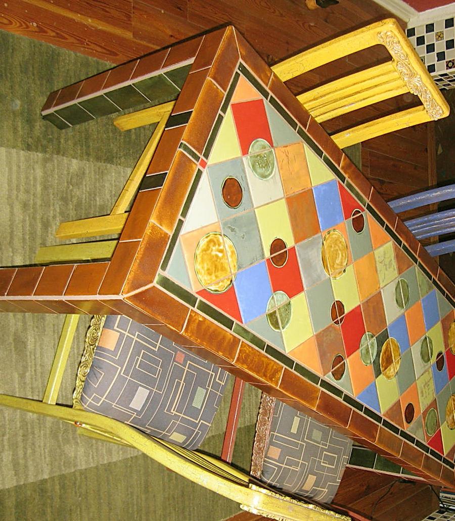 handmade tile dining table by elljaye on deviantart