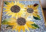 Mosaic glass sunflower table