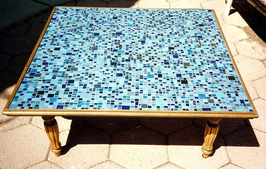 Blue mosaic coffee table by elljaye on DeviantArt